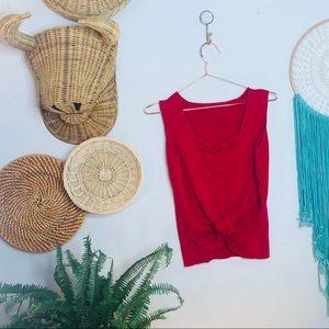 vtg vsco red ribbed crochet crop tank top